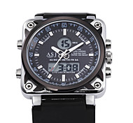 4 Colour Dual Time Digtal Date Day Alarm Waterproof LCD Chronograph Mens Sport Wrist Quartz Watch Rubber Band