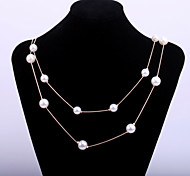 Fashion Women's Sweater Chain with Pearl Beads Two Lines Alloy Gold chain Long Necklace