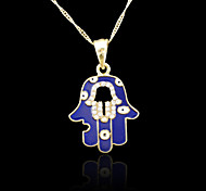 18K Real Gold Plated Hamsa Hand Of Fatima Evil Eye Crystal Hollow Out Zircon Pendant Necklace