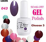 LIBEINE 3 pcs/lot 15 ML UV Color Gel Nail Polish No.043(Glitter Hyacinth)