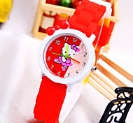 Kids' KT Cat Pattern Round Dial Silicone Band Fashion Quartz Watch (Random Color) Cool Watches Unique Watches