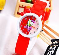 Kids' KT Cat Pattern Round Dial Silicone Band Fashion Quartz Watch (Random Color)