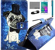 Coco fun® bonito teste padrão do cão estojo de couro pu com filme e cabo USB e caneta para Samsung Galaxy a3