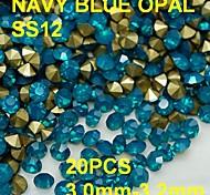 SS12 20pcs/lot 3.0mm-3.2mm Hot Sale Opal Rhinestone Golden Pointback Nail 3D Blue Protein Rhinestones Decoration