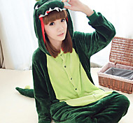Fierce Dinosaur Dark Green Polar Fleece Unisex Kigurumi Pajamas Cartoon Sleepwear Animal Halloween Costume