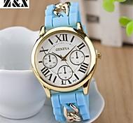 orologio al quarzo catena di moda diamante silicone analogico banda del polso delle donne (colori assortiti)