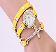 2015 New women vintage drill bracelet women watches with cross,fashion leather strap quartz watches,women dress watches