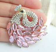Women Accessories Gold-tone Pink Rhinestone Crystal Peacock Brooch Art Deco Scarf Brooch Pin Women Jewelry