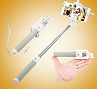 Wired Selfie Stick Handheld Monopod Built-in Shutter Extendable with Fold Holder For iPhone /Samsung (Assorted Colors)