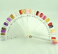 50PCS Folding Fan Tips Nail Polish Color Card Template