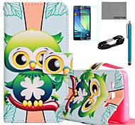 Coco fun® padrão da coruja verde estojo de couro pu com filme e cabo USB e caneta para Samsung Galaxy a7