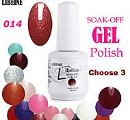LIBEINE 3 pcs/lot 15 ML UV Color Gel Nail Polish No.014(Night Queen Glitter Red)