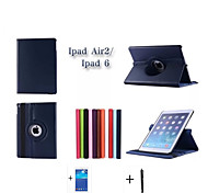 2015 NEW High Quality Rotating series Stand Leather Case For Apple iPad 6 iPad air2 Case +Screen Protector+Stylus