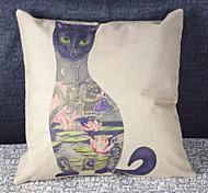 cubierta pintada azul gato sofá almohada casa decoración amortiguador estilo retro (17 * 17 pulgadas)