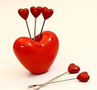 non toxique amour coeur en plastique métal à la mode collation désert prend fourchettes de fruits
