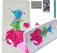 Coco fun® bonito padrão familiar elefante estojo de couro pu com protetor de tela e cabo USB e caneta para Iphone 6
