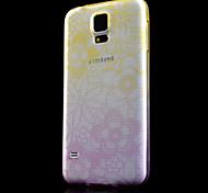 modello di fiori sottile cambiamento graduale stampato cassa fredda trasparente telefono TPU per s5 i9600 (colori assortiti)