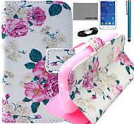 coco fun® rosa modello di fiore pu custodia in pelle con la pellicola e lo stilo per la galassia giovane 2 G130