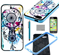 COCO FUN® Wind-Bell Pattern Soft TPU Back Case Cover with Screen Protector and Stylus for iPhone 5C
