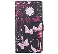 Pink Butterly Pattern PU Leather Full Body Case with Stand and Card Slot for LG Leon c40
