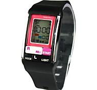 lcd unisex mostrador digital multifunções quadrado correia de borracha relógio eletrônico impermeável (cores sortidas)