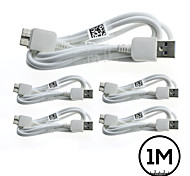 5PCs 1M White Micro USB 3.0 Data Charger Cable