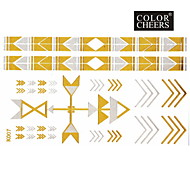 1Pc Gold and Silver Long Bracelet Tattoo Sticker 15x9CM