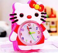 Kinder-kt-Katzekarikaturform runden Zifferblatt Silikonband weisequarzuhr (gelegentliche Farbe)