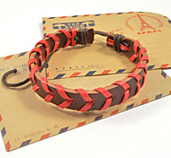 Fashion Men's Red Brown Leather Bracelets 1pc