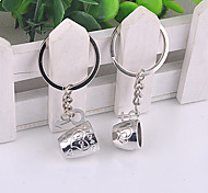 Stainless Steel Heart-shaped Cup Lovers Key Chain Ring Keyring