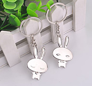 Stainless Steel Couple Love Rabbit Key Chain Ring Keyring
