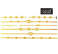 1Pc Gold and Silver Long Bracelet Tattoo Sticker 23x10CM