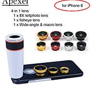 """apexel 4 in 1 Objektiv-Kit 8x Weißteleskopobjektiv + Fisheye-Objektiv + Weitwinkel + macro Objektiv mit für iphone 6 4.7 """""""