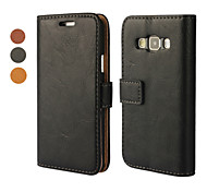 For Samsung Galaxy Case Card Holder / with Stand / Flip / Magnetic Case Full Body Case Solid Color PU Leather Samsung A5