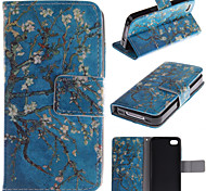 Apricot Blossom Design PU Leather Flip Case for iPhone 4/4S