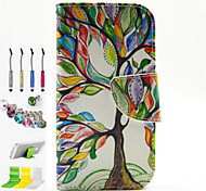 Multicolor Tree Pattern Holster and Bracket Dust Plug Stylus Pen Combination for Samsung Galaxy J1