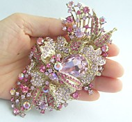 Women Accessories Gold-tone Pink Rhinestone Crystal Flower Brooch Art Deco Crystal Brooch Bouquet Wedding Jewelry