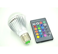 E26/E27 3 W 3 X High Power LED  RGB Remote-Controlled Globe Bulb  AC 85-265 V