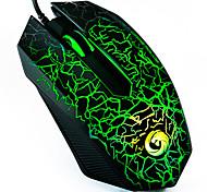 e-sport gaming mouse / alta precisione 1200 dpi luce colorata usb cablato gaming mouse ottico con controllo laterale