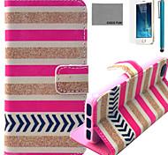 Coco padrão cruzado fun® listrado zebra estojo de couro pu com protetor de tela e cabo USB e caneta para iPhone 5 / 5s
