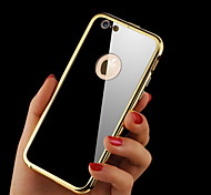 Hollow Back Luxury Streamline Metal Frame Acrylic Mirror Plate Metal Hard Case for iPhone 6 Plus