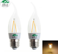 Zweihnder E27 2W 180LM 3000-3500K LED Tungsten Core Warm Light Candle Light (AC 220-240V,2Pcs)