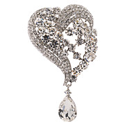 Clear Women's Party Drop  Heart-shaped Brooch Broach Pins Jewelry Rhinestone (More Colors)