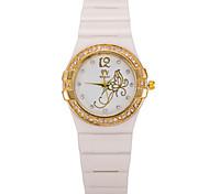 Women's Round Dial Case Silicone Watch Brand Fashion Quartz Watch