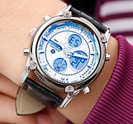 nuevo llega la hora dual fecha reloj deportivo para hombre de cuarzo digtal lcd día relojes de cuero alarma de la agenda a prueba de agua