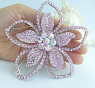 Women Accessories Art Deco Silver-tone Pink Rhinestone Crystal Flower Brooch Bridal Bouquet Women Jewelry
