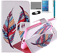 COCO FUN® Two Feather Pattern PU Leather Case with Film and USB Cable and Stylus for Samsung GALAXY Grand Prime G530