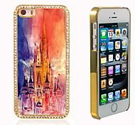 el brillo brillo híbrida diseño del castillo de lujo Bling con la caja de diamantes de imitación de cristal para el iphone 5 / 5s