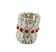Fashion Jewelry  Silver Alloy Elastic Ring Female Red Gemstone Ring(1pc)