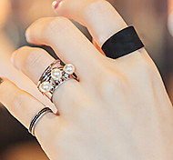 Korea Style Fashion Personality Joint Three-piece Black Pearl Rotation Spring Ring